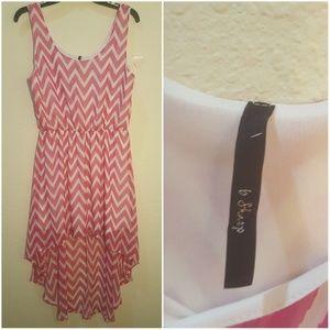 B Sharp Pink and White Chevron Dress